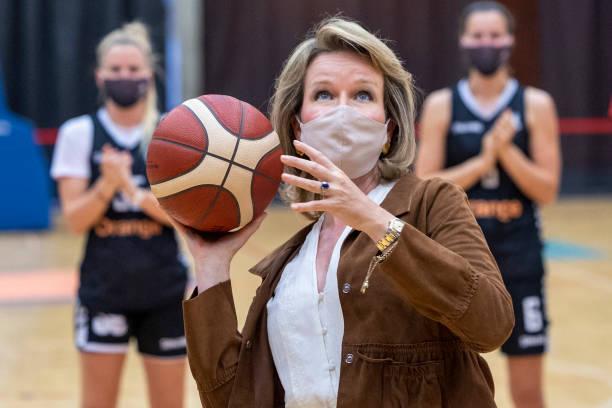 BEL: Queen Mathilde Of Belgium Visits The Lange Munte Sports Campus in Kortrijk