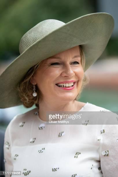 Queen Mathilde of Belgium visits the Biennale Arte Venice 2019 on September 06, 2019 in Venice, Italy.