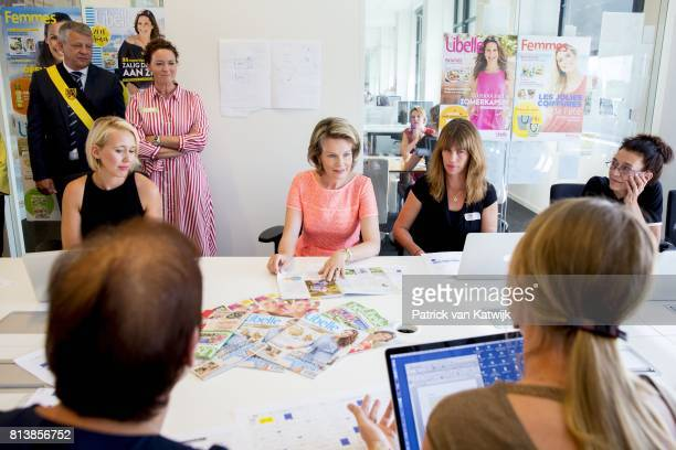 Queen Mathilde of Belgium visits the editorial rooms of Belgium's oldest women's magazines Libelle and Femme d'Aujourd'hui at Sanoma publishing on...