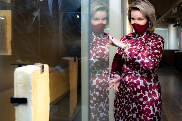 "BEL: Queen Mathilde of Belgium Visits ""The World of Clovis. Merovingian routes"" Exhibition At The Royal Museum of Mariemont Morlanwelz"