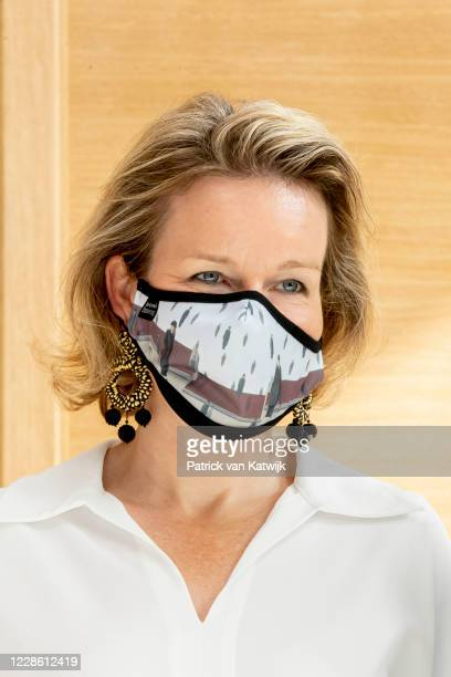 Queen Mathilde of Belgium visits the house of European History by Bike on Car Free Sunday on September 20, 2020 in Brussels, Belgium.