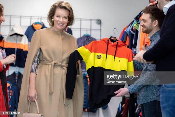 Queen Mathilde of Belgium visits the J&Joy Fashion Headquarters on January 15, 2020 in Waremme, Belgium.