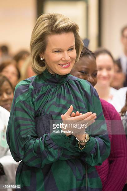Queen Mathilde of Belgium visits the Medical Center for Assistance to the Victims Excision at CHU Saint Pierre on November 28 2014 in Brussel Belgium