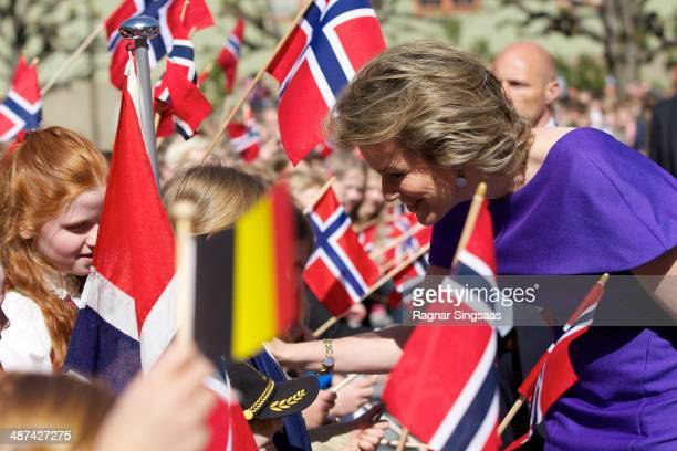 Queen Mathilde of Belgium visits the Norwegian Museum of Cultural History during an official visit on April 30 2014 in Oslo Norway