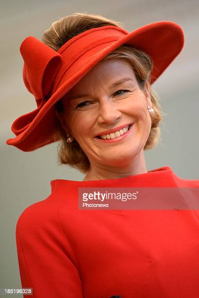 Queen Mathilde of Belgium visits the province of Luxembourg on October 18 2013 in Arlon Belgium