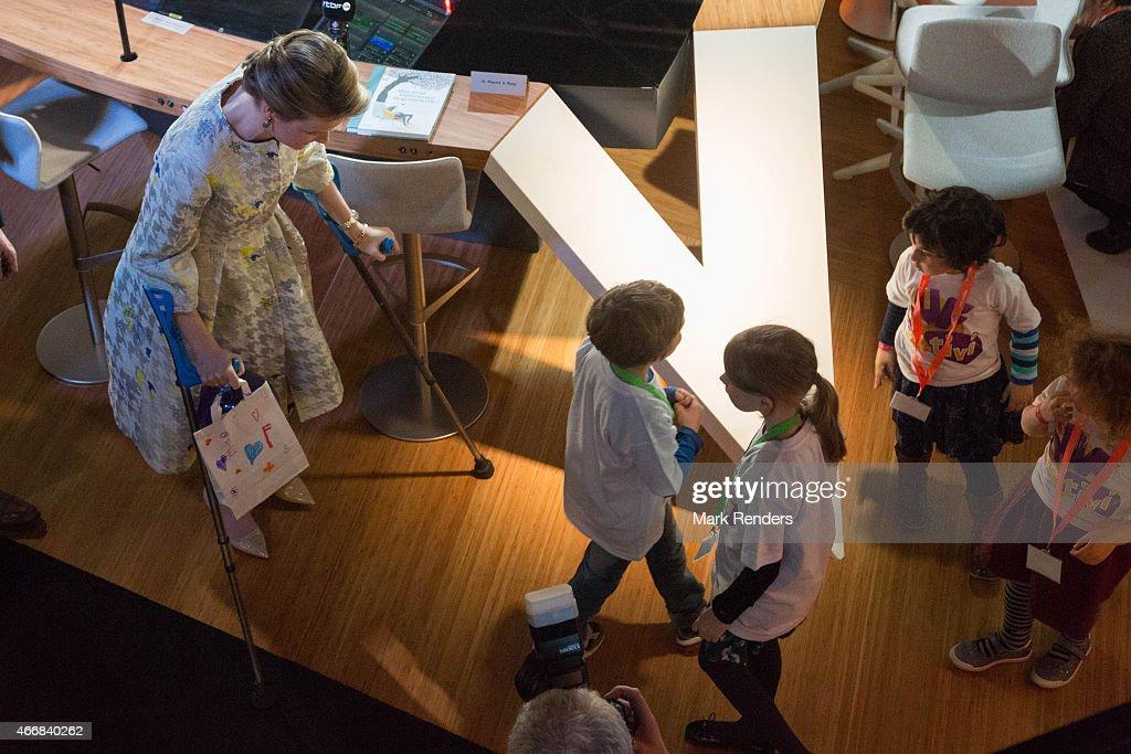Queen Mathilde of Belgium visits the RTBF studio on March 19, 2015 in Brussels, Belgium.