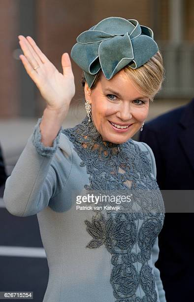 Queen Mathilde of Belgium visits the Sligro Foodgroup Netherlands on November 30 2016 in Veghel Netherlands