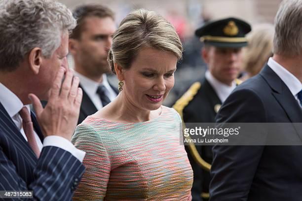 Queen Mathilde of Belgium visits the swedish Riksdag on April 29 2014 in Stockholm Sweden