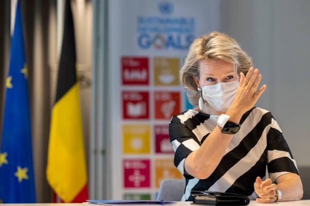 BEL: Queen Mathilde Of Belgium Visits The UN House In Brussels