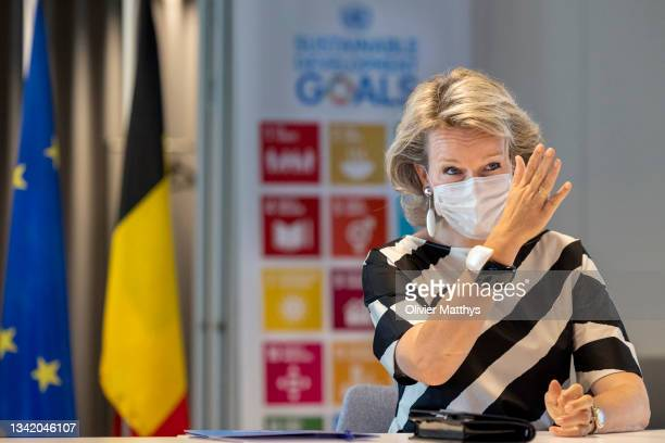 Queen Mathilde of Belgium visits the UN House on September 10, 2021 in Brussels, Belgium. The United Nations House serves as headquarters of United...