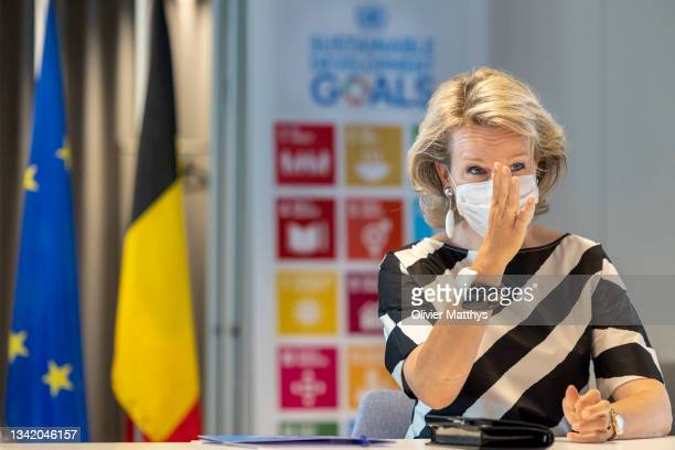 Queen Mathilde of Belgium visits the United Nations House on September 10, 2021 in Brussels, Belgium. The UN house serves as headquarters of United...
