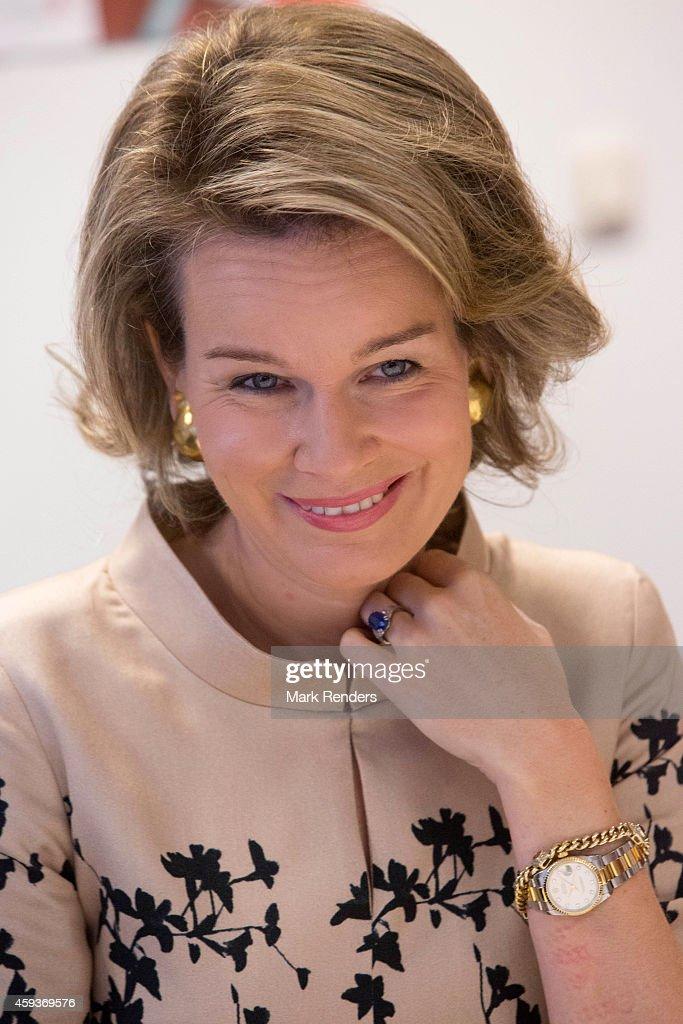 Queen Mathilde of Belgium Visits Lokeren : News Photo