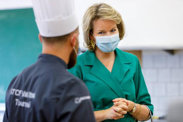 BEL: Queen Mathilde Of Belgium Visits The Bakery & Bike Repair Classes Of The Technical Institute Of Tournai