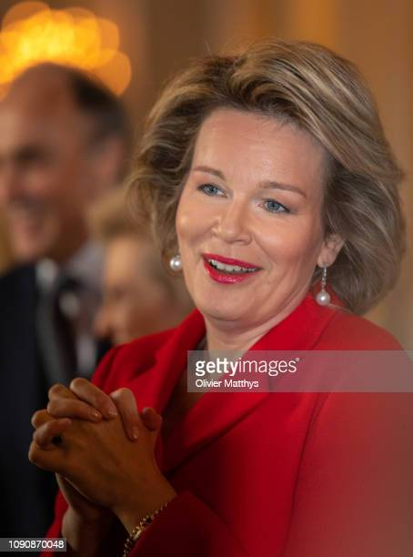 Queen Mathilde of Belgium welcomes principal authorities of the country at the Royal Palace on January 29, 2019 in Brussels, Belgium.