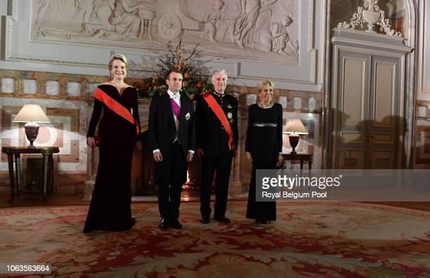 Queen Mathilde, President of France Emmanuel Macron, King Philip of Belgiumand First Lady of France Brigitte pose for the official photo prior to the...