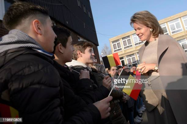 Queen Mathilde visits Institut Sainte Marie * Mathilde Châtelet 06-02-20 pict. By Christophe Licoppe © Photo News via Getty Images)