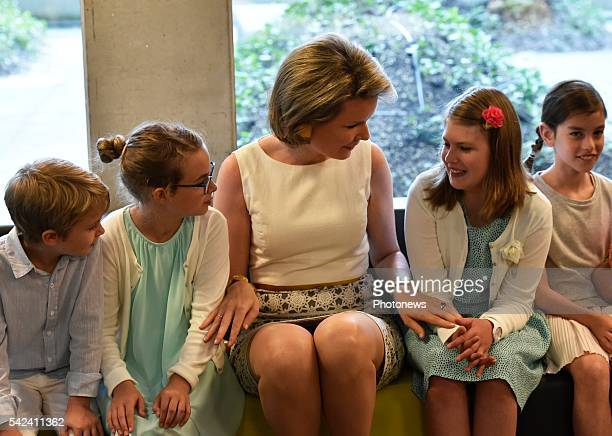 Queen Mathilde visits the CME research center on genetics disorders of the university of Leuven on June 23 2016 in Leuven Belgium Queen Mathilde...