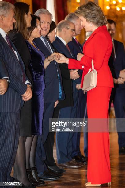Queen Mathilde welcomes Energy and Environment Minister Marie-Christine Marghem at the reception of principal authorities of the country at the Royal...