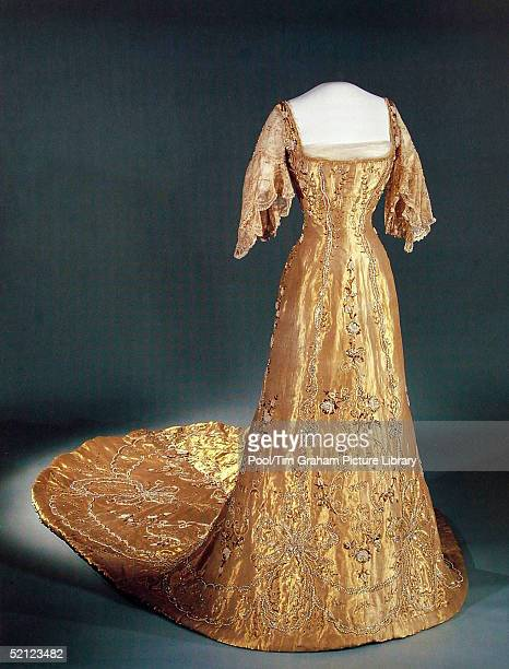 Queen Maud's Coronation Dress is on display at the'Style and Splendour Queen Maud of Norway's Wardrobe 18961938' exhibition at the Victoria and...