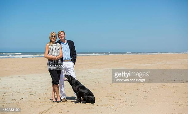 Queen Maxima and King WillemAlexander of The Netherlands and one of their dogs pose for pictures on July 10 2015 in Wassenaar Netherlands
