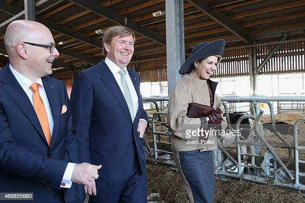 Queen Maxima and King WillemAlexander of the Netherlands and State president of SchleswigHolstein Torsten Albig visit the Thuenen institute during...