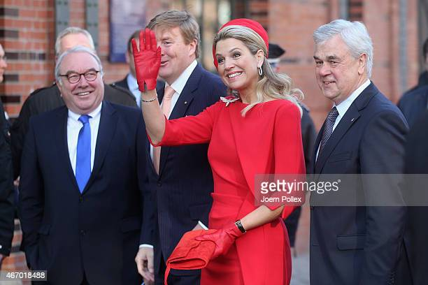 Queen Maxima and King WillemAlexander of the Netherlands arrive at the 'Fischmarkt' during their state visit on March 20 2015 in Hamburg Germany