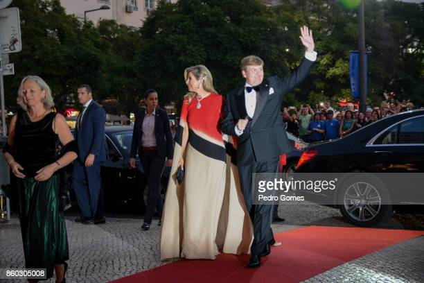 Queen Maxima and King WillemAlexander of The Netherlands arrive at Teatro Nacional D Maria II to attend a concert on October 11 2017 in Lisboa CDP...