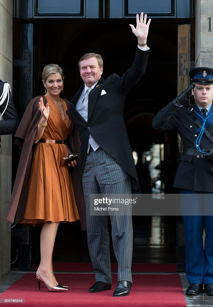 King Willem-Alexander and Queen Maxima Of The Netherlands Attend New Year's Reception at Royal Palace : News Photo