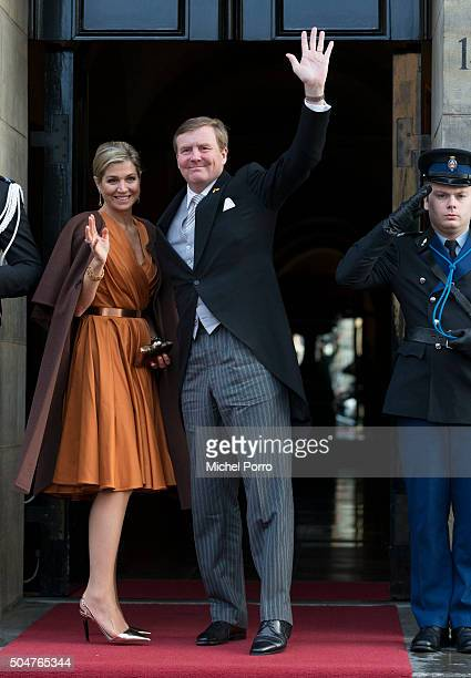 Queen Maxima and King WillemAlexander of The Netherlands arrive to attend the New Year's reception for the diplomatic corps at the Royal Palace on...