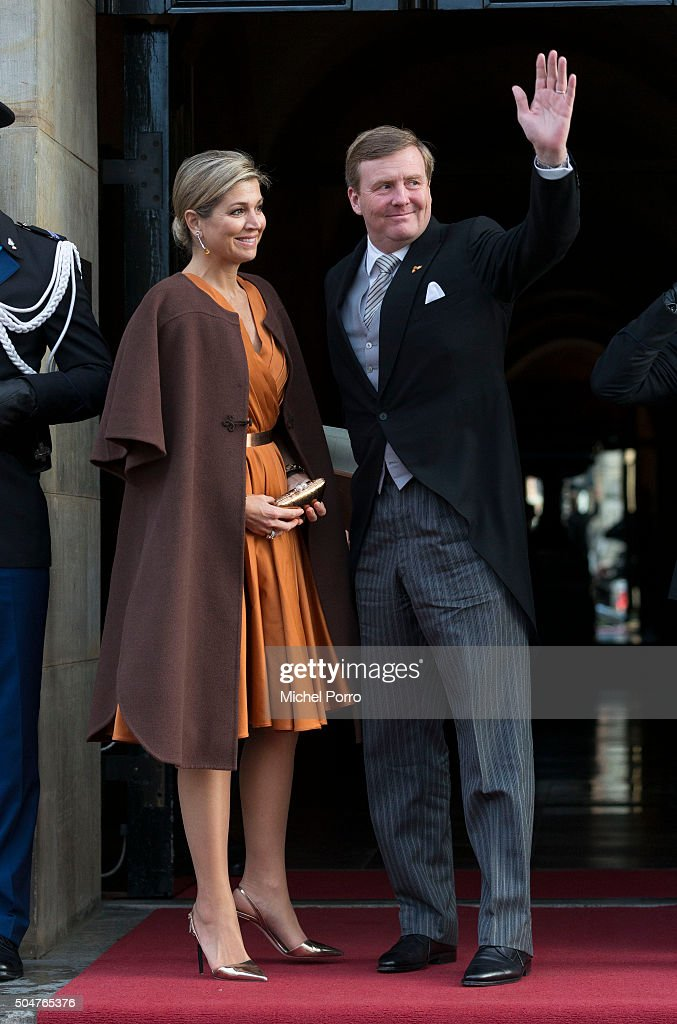 Queen Maxima and King Willem-Alexander of The Netherlands arrive to attend the New Year's reception for the diplomatic corps at the Royal Palace on January 13, 2015 in Amsterdam Netherlands.