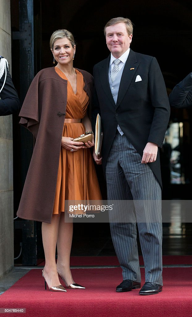 King Willem-Alexander and Queen Maxima Of The Netherlands Attend New Year's Reception at Royal Palace : ニュース写真