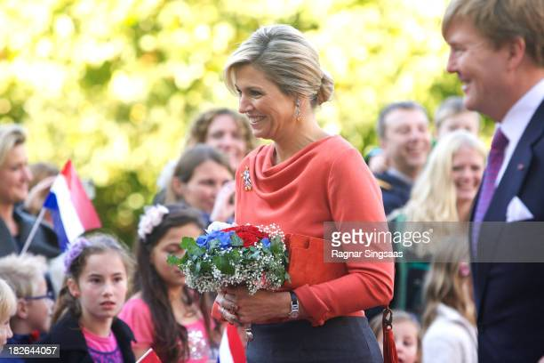 Queen Maxima and King WillemAlexander of The Netherlands arrives at the Royal Palace during an official visit to Oslo on October 2 2013 in Oslo Norway