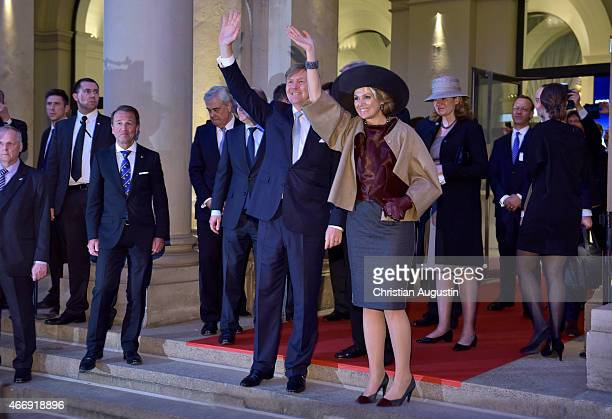 Queen Maxima and King WillemAlexander of The Netherlands leave a renewable energy exhibition at chamber of commerce on March 19 2015 in Hamburg...