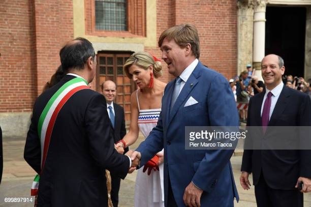 Queen Maxima and King WillemAlexander of The Netherlands leaves the Cenacolo Vinciano in the Refectory of the Convent of Santa Maria delle Grazie on...