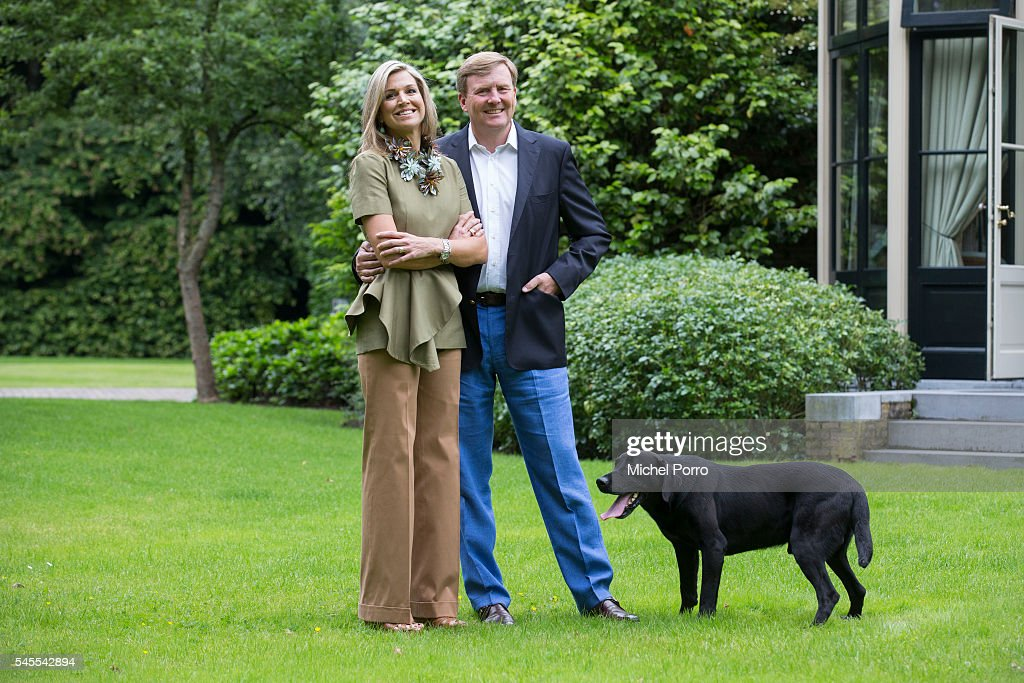 Queen Maxima and King Willem-Alexander of The Netherlands pose for pictures during the annual summer photo call at their residence Villa Eikenhorst on July 8, 2016 in Wassenaar, Netherlands.