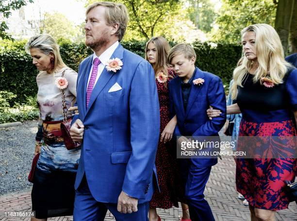 Queen Maxima and King Willem-Alexander of the Netherlands , Princess Mabel Wisse Smit of Orange-Nassau and her children attend the funeral of late...