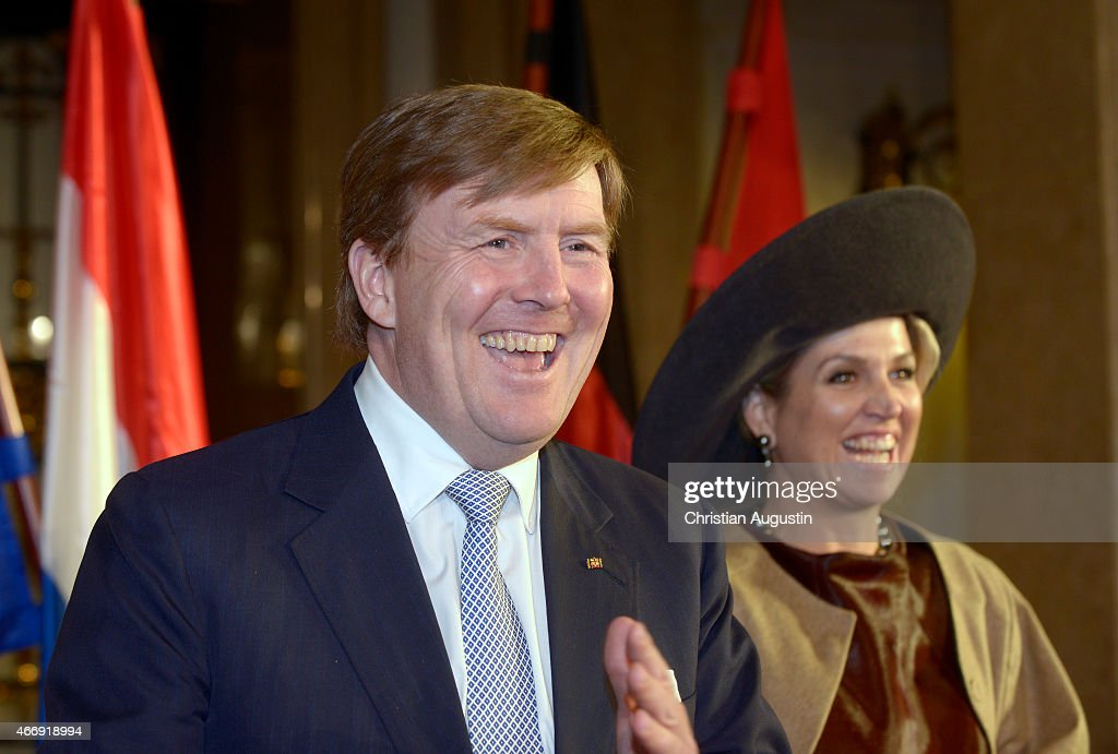 Queen Maxima and King Willem-Alexander of The Netherlands visit the town hall on March 19, 2015 in Hamburg, Germany.