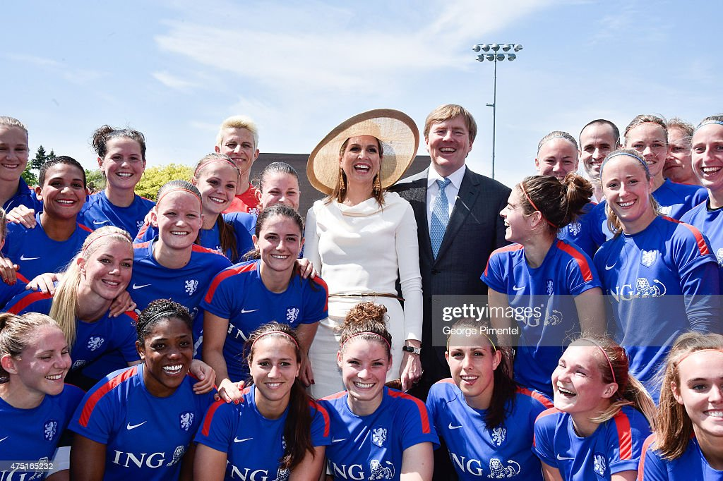 Queen Maxima and King Willem-Alexander of the Netherlands visit the FIFA Dutch Womens National team at Monarch Park Stadium during the state visit to Canada on May 29, 2015 in Toronto, Canada.