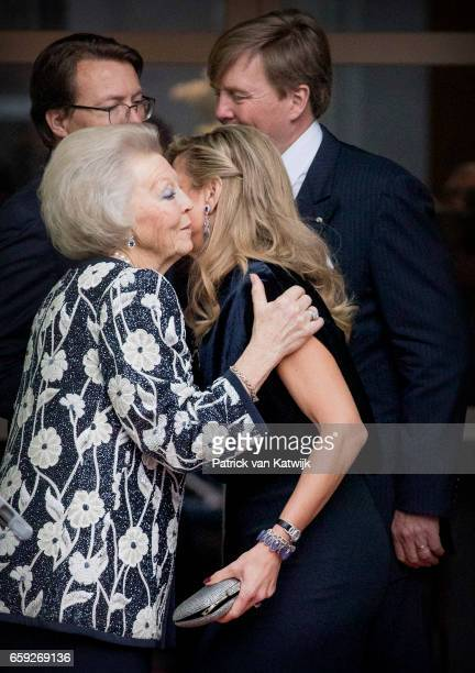 Queen Maxima and Princess Beatrix kissing goodbye after the ballet performance offered by the President of Argentie at theater Dilligentia on March...