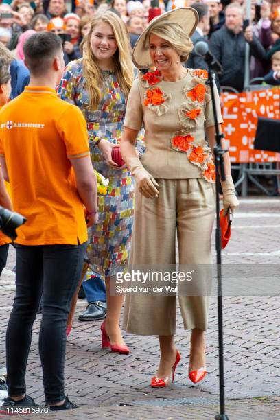 Queen Maxima and Princess CatharinaAmalia during their visit to the city of Amersfoort to celebrate Kingsday on April 27 2019 in Amersfoort...