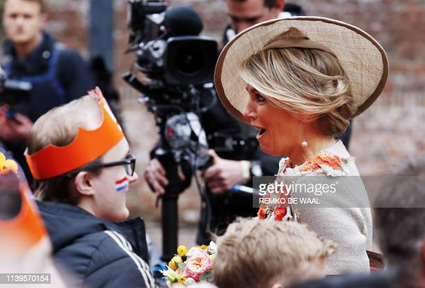 Queen Maxima arrives in Amersfoort on Kings Day on April 27 2019 The Dutch king WillemAlexander celebrates his birthday in the city in central...
