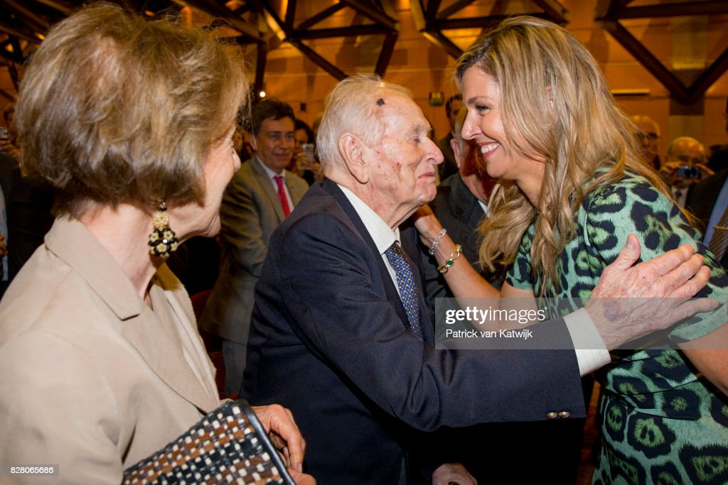 Queen Maxima greets her parents Jorge and Maria Zorreguieta at the Catholic University of Argentina on October 11, 2016 in Buenos Aires, Argentina.