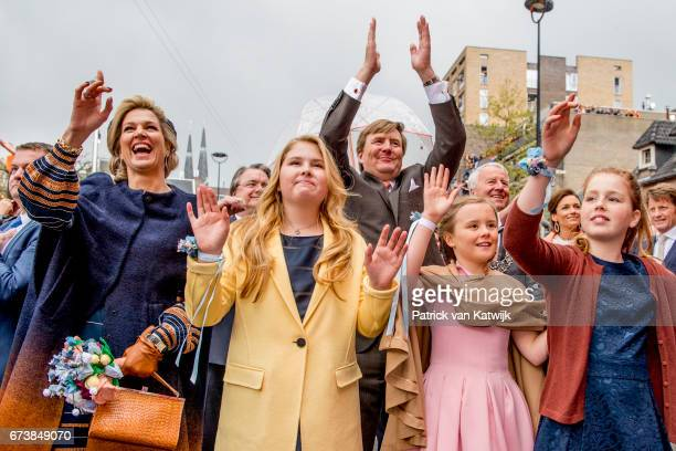 Queen Maxima, King Willem-Alexander and their daughters Princess Amalia, Princess Alexia and Princess Ariane attend the King's 50th birthday during...