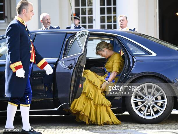 Queen Maxima leaves from Noordeinde Palace for the Grote Kerk on Prinsjesdag in The Hague, on September 15, 2020. - The king will read the speech...