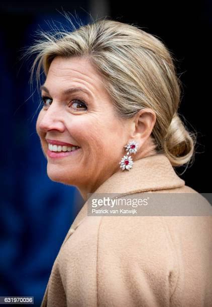Queen Maxima leaves the new year reception for the diplomatic corps at the royal palace on January 18 2017 in Amsterdam Netherlands