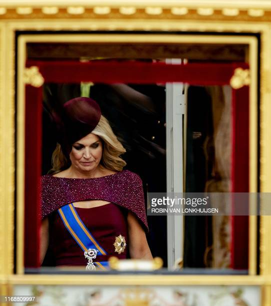 Queen Maxima leaves with the Glass Carriage from Noordeinde Palace to the Ridderzaal before the speech of the King on Prinsjesdag in The Hague, on...
