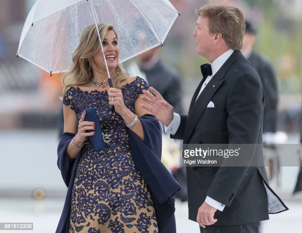 Queen Maxima of Netherlands and King WillemAlexander of Netherlands arrives at the Opera House on the occasion of the celebration of King Harald and...