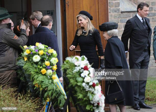 Queen Maxima of Netherlands and Princess Beatrix arrive at the funeral service for the deceased Prince Richard of SaynWittgensteinBerleburg at the...