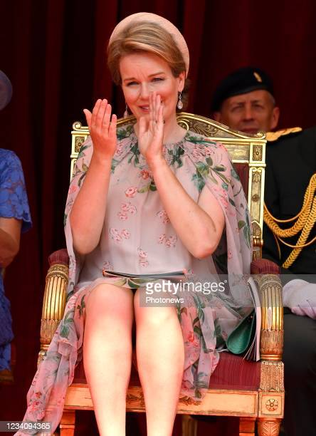 Queen Maxima of Netherlands pictured during the National Parade for the Belgian National Day. July 21, 2021 in Brussels, Belgium,