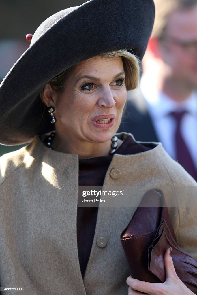 Queen Maxima of of the Netherlands visits the Thuenen institute during her state visit on March 19, 2015 in Westerau, Germany.